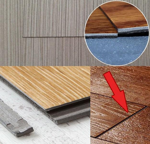 Дефекты возникающие при укладке ПВХ плитки на недостаточно ровное основание (перепад более 2 мм на 2 метра поверхности